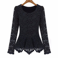 Lace Long Sleeve Peplum Top
