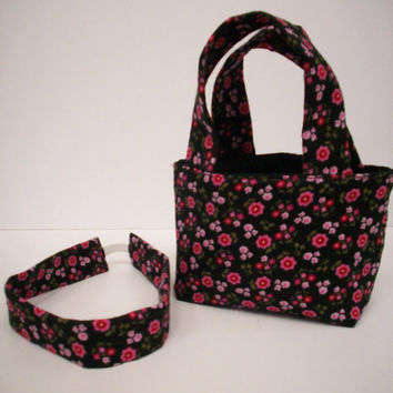 Charming Gift Set Pink and Black Rosy Posy Teeny Tote Bag Basket Bucket with Matching Headband