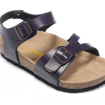 Birkenstock Rio Sandals Leather Deep Purple - Ready Stock