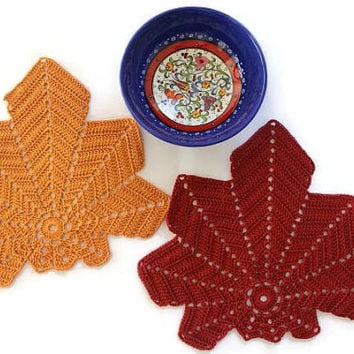 Doilies - Crochet Leaf Coaster - Set Of Two Coaster -  Home Decor