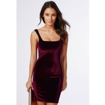 Missguided - Pipin Velvet Bodycon Dress Burgundy