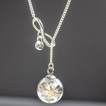 Tiny Real dandelion Necklace,  Wish dandelion Jewelry. Glass Globe, blown globe Pendant, Birthday Gift,vial ball Real Dried dandelion seeds