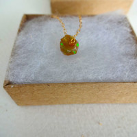 Natural Rough Fire Opal Pendant and 14k Gold / 925 Sterling Silver Necklace