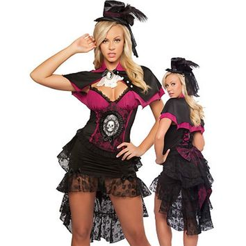 Shawl Lace Mesh Skull Fancy Dress Deep V Corset Dress With Hat