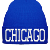 CHICAGO EMBROIDERY HAT - Beanie Cuffed Knit Cap