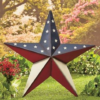 "24"" Patriotic Star Yard Stake or Wall Hanging Primitive Country Americana Stars Stripes Flag Decor"