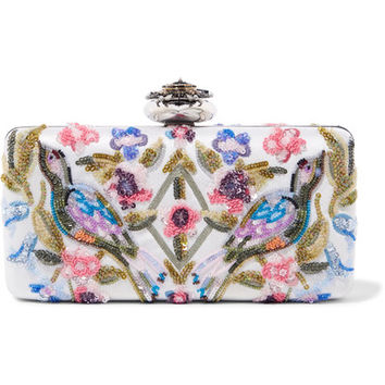 Alexander McQueen - Heart embellished embroidered satin clutch