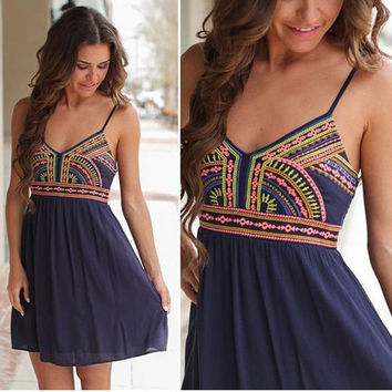 Women Fashion Sexy Sleeveless Slip Print Dress = 1946250628
