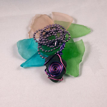 Wire Wrapped Faux Sea Glass - Pink and Purple Swirl