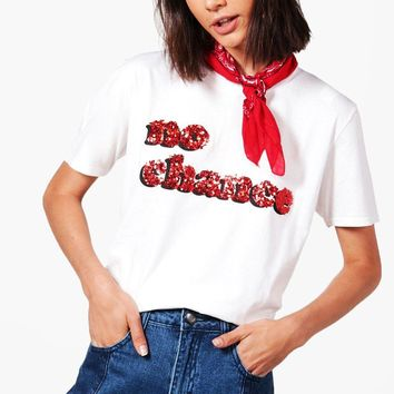 Stella Sequin No Chance Slogan Tee | Boohoo