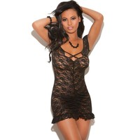 Sexy Cute Hot Deal On Sale Black Hollow Out Spaghetti Strap Sleeveless Dress Exotic Lingerie [6596715203]