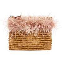 Loeffler Randall Feather Trim Straw Clutch | Nordstrom