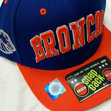 NCAA Boise State Broncos Top of The World Blue with Orange Brim and Block Letters Snapback Flatbill Hat