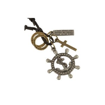 Cross Anchor And Rudder Pendant Necklace For Women