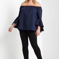 Jene Off the Shoulder Flute Sleeve Top Plus Size
