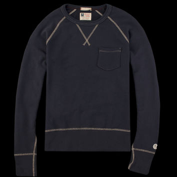 UNIONMADE - Todd Snyder Champion - Classic Pocket Sweatshirt in Mast Blue with Contrast Stitch