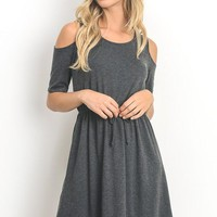 Cold Shoulder Half Sleeve Dress - Charcoal