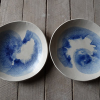 Blue watercolour pasta bowl set, stoneware, Ceramics and Pottery, Kitchen, Australian ceramics, handmade ceramics