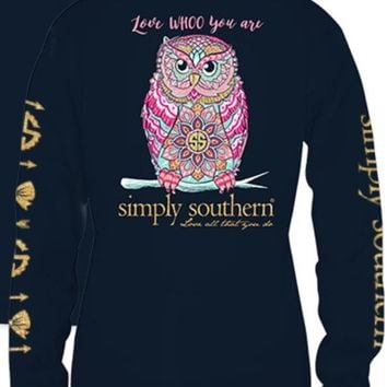 """Simply Southern """"Love Whoo You Are"""" Long Sleeve Tee"""