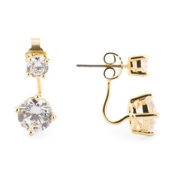 CZ BY KENNETH JAY LANE Gold Double CZ Wire Drop Earrings