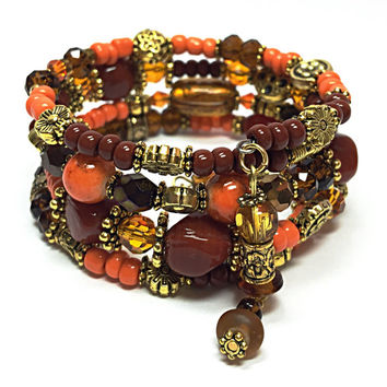 Orange and Brown Bracelet - Beaded Memory Wire Bracelet - Orange Wrap- Boho Gypsy - Hippy Chic - Charm Bracelet - Bohemian TD451