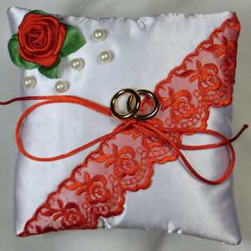 Wedding Ring Pillow / Ring Bearer Pillow / red lace satin wedding / ring bearer pillow with pearls / pillow with red rose / without rings