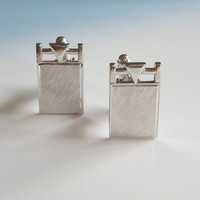 "Swank Brushed Silver Cufflinks, Vintage, Modernist, Barred Trident, Rectangular Men's Cufflinks, Cuff Links, Signed ""S"" Father's Day Gifts"