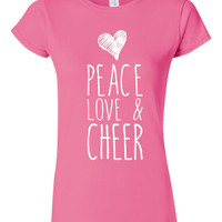Peace Love And Cheer T Shirt Dance or Cheer Squad T Shirt Cheerleading T Shirt Dance T Shirt dance squad cheer coach cheering t shirt cheer