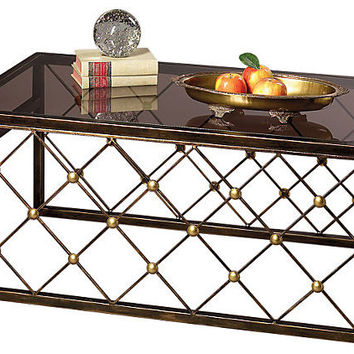 Dessau Home Button Coffee Table Bronze Iron W/Brass Accents - Me2201