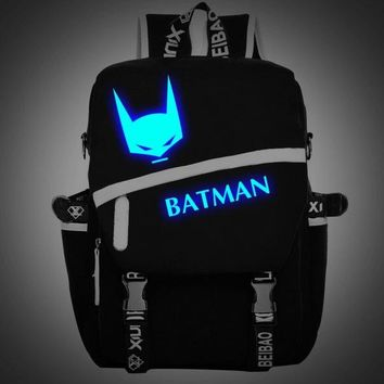 Batman bags Luminous joker lolita cat backpack teenagers Backpack japanese School uniform travel Shoulder Bag Laptop Bags