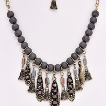 Grey-Beaded-Jewel-Fringe-Necklace/Earring-Set