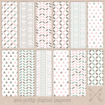 Brown pink and green geometric digital paper pack. triangle cardstock chevron and more for scrapbooking graphic design, blog backgrounds etc