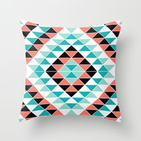 Tribal Triangles Throw Pillow by Jacqueline Maldonado