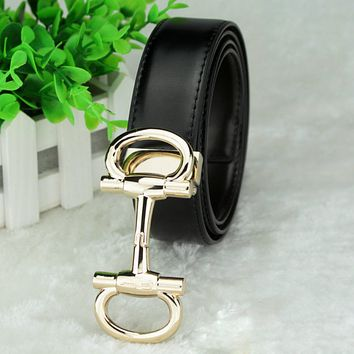 Ferragamo men's leather belt fashion casual smooth buckle Black + gold buckle