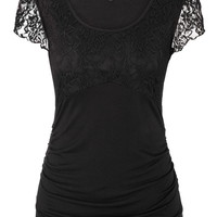 Short Sleeve Lace Upper Top With Cinched Sides