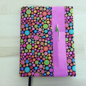 Composition Notebook Cover~ Buttons and Pink Dot ~ Makes a Great Gift