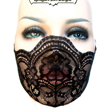 black lace, mask, fetish, lingerie, fantasy, cos play, club wear, medical fetish, play wear: Renegade Icon Designs