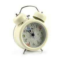 Cream Farm Vintage Metal Flower Leaf Twin Double Bell Desk Table Alarm Clock