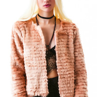 For Love & Lemons Faux Fur Jacket Pale Pink