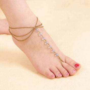 Sexy New Arrival Gift Stylish Jewelry Cute Ladies Shiny Accessory Simple Design Crystal Chain Tassels Beach Anklet [6768805511]
