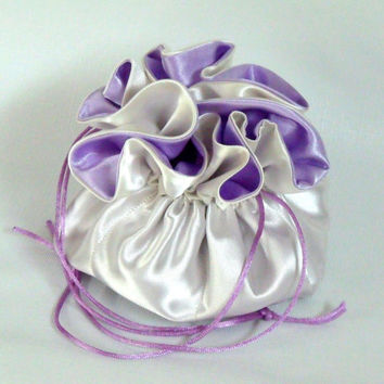 Jewelry  Drawstring Tote, Ivory and Lavender Large with Pockets