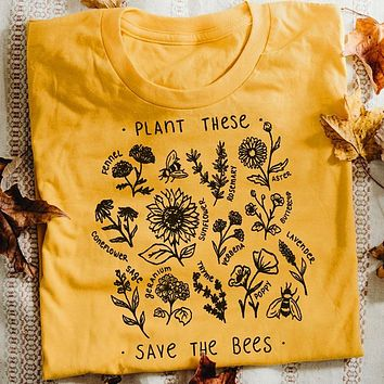 Plant These Tshirt Women Causal Save The Bees T-shirt Wildflower