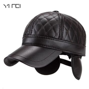 Trendy Winter Jacket YIFEI Ear Protect Snapback Hat For Women High Quality Winter Hat For Men Solid n Hat Warm Winter Leather Fur Baseball Cap AT_92_12
