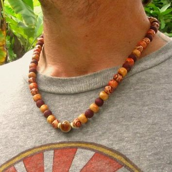 Botswana Agate Stone & Wooden Beaded Necklace / Ethnic Hippie Tribal Beaded Necklace / Mens Choker Style Necklace / Mens Gemstone Necklace