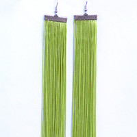 Very Long Earrings. Fringe Earrings. Dangle Light Green Earrings. Shoulder Dusters