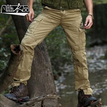 Free Shipping New fashion Male Men's overalls casual Military men's pants movement pocket patch slacks spring promotion