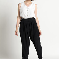 Vintage 80s Black Pleated Harem Pants with Tapered Leg | M