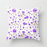 purple blue wild flower Throw Pillow by Color And Color