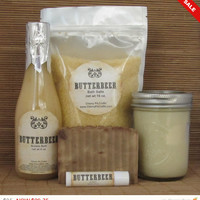 Sale -  Harry Potter Butterbeer Large Gift Set 1- Bath Salt, Soy Candle, Soap, Lip Balm and Bubble Bath