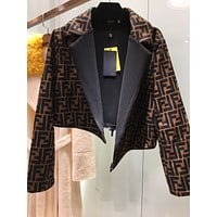 bags discount Fendi Warm Women Double Breasted Long Trench Parka Coat Suit jacket